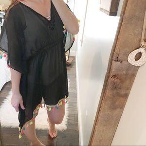 One size black pom Pom swim/bathing suit coverup
